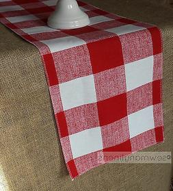 Red Plaid Table Runner Country Kitchen Dining Room Decor Gin