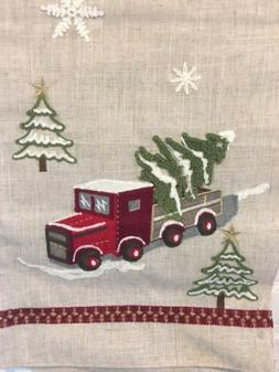 "Red Truck Table Runner Christmas Embellished  16""x72"" Ne"
