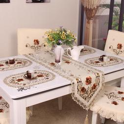 retro european pastoral embroidered floral tablecloth font