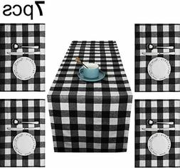 Reversible Buffalo Plaid Table Runner with Black n White 4 s