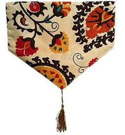 Yoovi Reversible Table Runner Ethnic Floral, Cotton and Line
