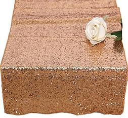 "12""x72"" rose gold Sequin Table Runner, Sequin Table Cloth, S"