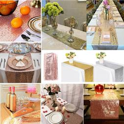 Rose Gold/Silver Glitter Sequins Table Runner Cloth Xmas Wed
