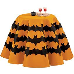 Collections Etc Round Orange Halloween Tablecloth with Bats,