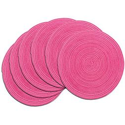 SHACOS Round Braided Placemats Set of 6 Cotton Round Place M