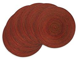 DII Round Woven Placemat, Set of 6, Variegated Red - Perfect