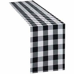 Ruck Table Runner Black and White Buffalo Plaid, Cotton-Poly