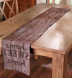 Rustic Kitchen Table Runner Country Barnwood Look Fabric Din