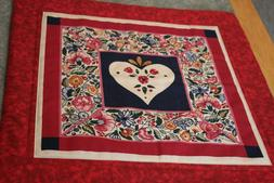 Sale Red Burgundy Heart Floral 19  x 19 1/2  Handmade Quilte