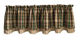 """Park Designs Scotch Pine Lined Layered Valance, 72 by 16"""""""
