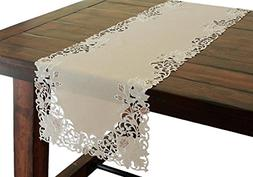 Xia Home Fashions Scrolling Rose Embroidered Cutwork Floral