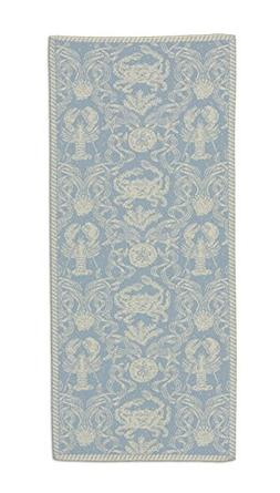 """Heritage Lace Sea Blue Crab Damask Table Runner, 14""""x36"""""""