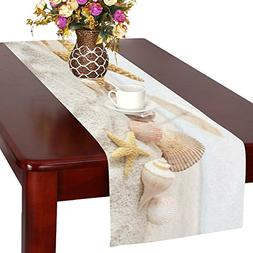 InterestPrint Seashell Starfishes Cotton Table Runner Placem