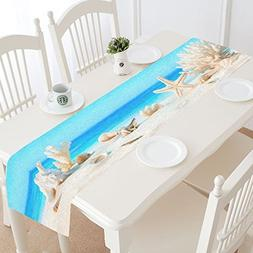 InterestPrint Seashell on Tropical Beach Polyester Table Run