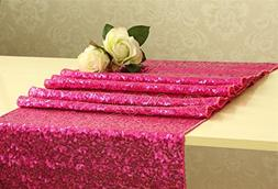 B-COOL High-Density 14 x 108 Inch Fuchsia Sequin Table Runne