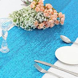 "PartyDelight Sequin Table Runner Linen, 12""x108"", Turquoise"