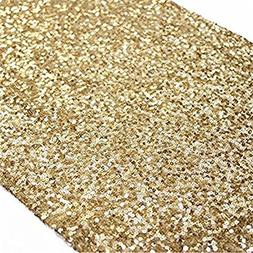 TRLYC 12x 120 Inch Sparkly Gold Sequin Table Runner,Sequin T