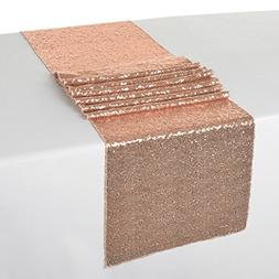 ShinyBeauty 12x108-Inch Sequin Table Runner Rose Gold 10 Pie