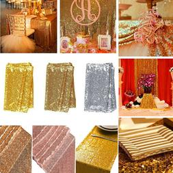 Sequin Table Runner Tablecloth Gold Wedding Birthday Party D