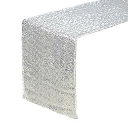 ACRABROS Sequin Table Runners Silver- 12 X 108 Inch Glitter
