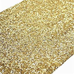 TRLYC 12 x 60 Inch Sequined Table Runner -Gold