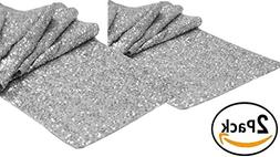 Light & Pro 2Pack Sequins glitz Table Runner in Silver color