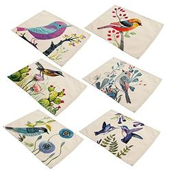 6 In Set Cotton Linen Placemats - Bird Pattern Table Mats He