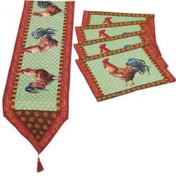 Collections Etc 5 PC Set Country Farmhouse Rooster Tapestry