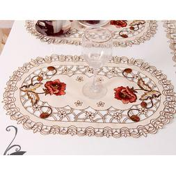 Set of 4 Oval Floral Placemats White Embroidered Lace Doilie