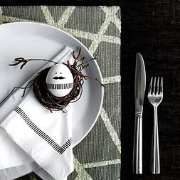 """Artbisons Sets of 6 Place Mats Grey Geometry 16x12"""" Thickly"""