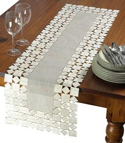 Violet Linen Sevill Decorative Embroidered Cutwork Table Run