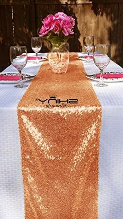 ShinyBeauty 14x132-Inch Rectangle Rose Gold Sequin Table Run