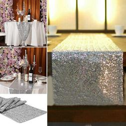 Silver Glitter Sequin Table Runners Cloth Wedding Venue Baby