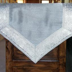SILVER TABLE RUNNER BROCADE BORDER 72X13 Inches, Brand New,