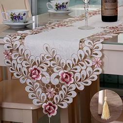 Simple pflower embroidered hollow table runner with tassels