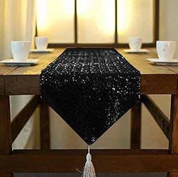 Sparkly Black-12x90-Inch Rectangle Sequin Table Runner With
