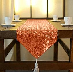 Sparkly Orange-12x90-Inch Rectangle Sequin Table Runner With
