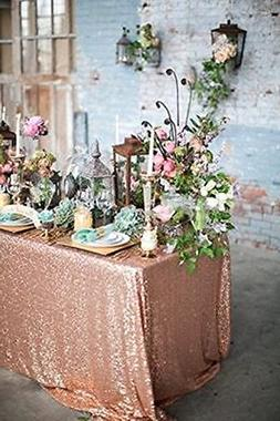 """60""""x120"""" Sparkly Rose Gold Square Sequins Wedding Tablecloth"""