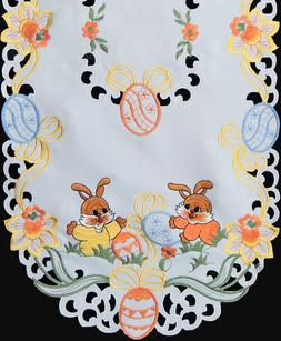 Spring Embroidered Easter Bunny Egg Floral Placemat Tableclo