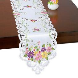 Spring Embroidered Table Linens, Wildflower Daisy, Runner