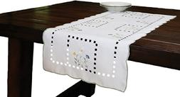 Spring Field Embroidered Cutwork Table Runner, Table Runner,