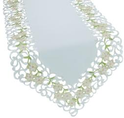 Xia Home Fashions Spring Garden Embroidered Cutwork Table Ru