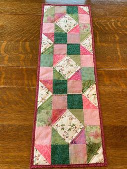 Spring Summer Pink Green Quilted Table Runner Handmade Flora
