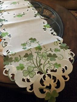 St Patrick's Day Decor Table Runner Green Shamrock Irish Cel