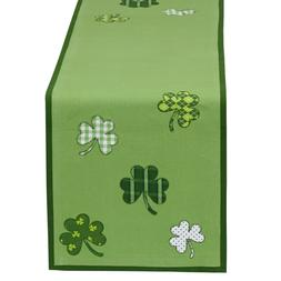 DII St Patricks Day Shamrock Embroidered Table Runner Home D