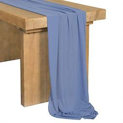 Steel Blue Chiffon Table Runner for Rustic Wedding Party Bri