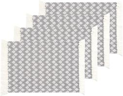 Sticky Toffee Cotton Woven Placemat Set with Fringe Traditio