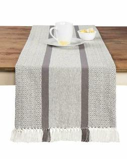 Sticky Toffee Cotton Woven Table Runner With Fringe, Traditi