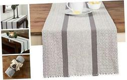 Sticky Toffee Cotton Woven Table Runner with Fringe, Table R