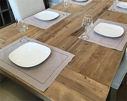 """CleverDelights 6 Pack Stone Hemstitched Placemats - 14"""" x 20"""